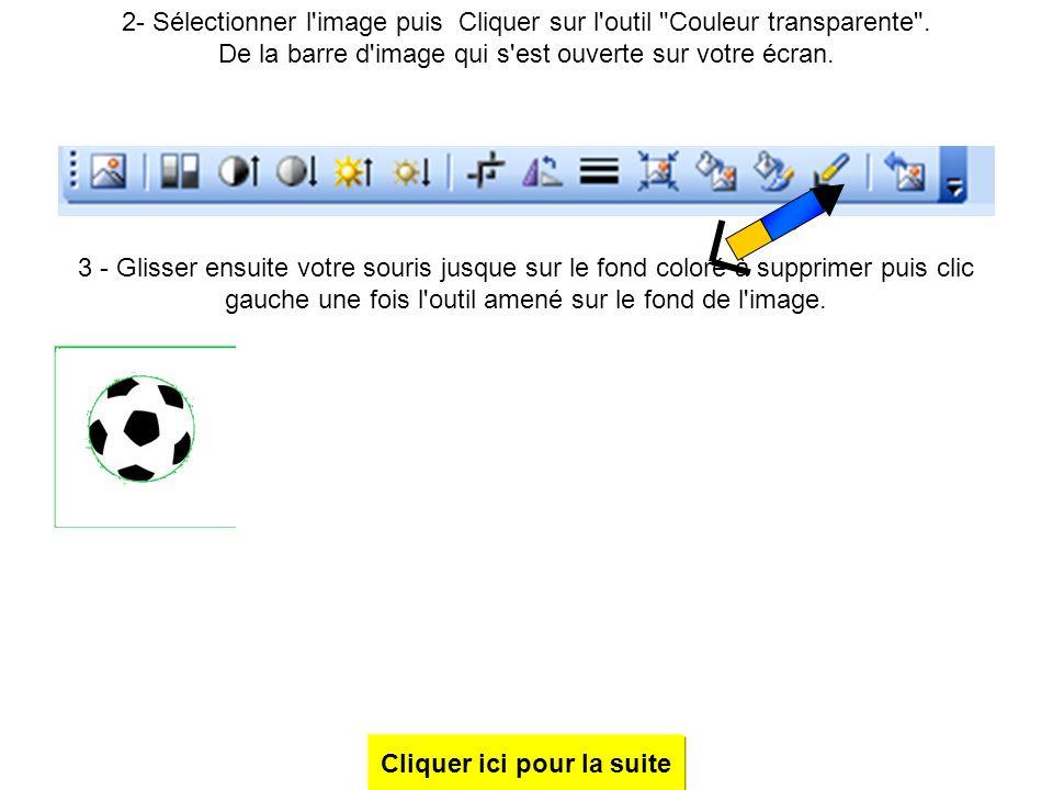 1- télécharger une image de ballon de foot depuis internet puis l'enregistrer. La choisir avec un fond coloré car lorsqu'on supprimera le tour par la