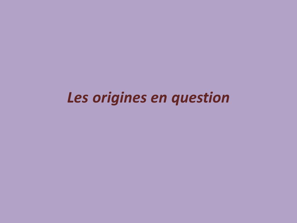 Les origines en question