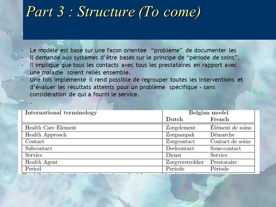Part 3 : Structure (To come) 29 -Le modèle est basé sur une façon orientée problème de documenter les -Il demande aux systèmes d'être basés sur le principe de période de soins .