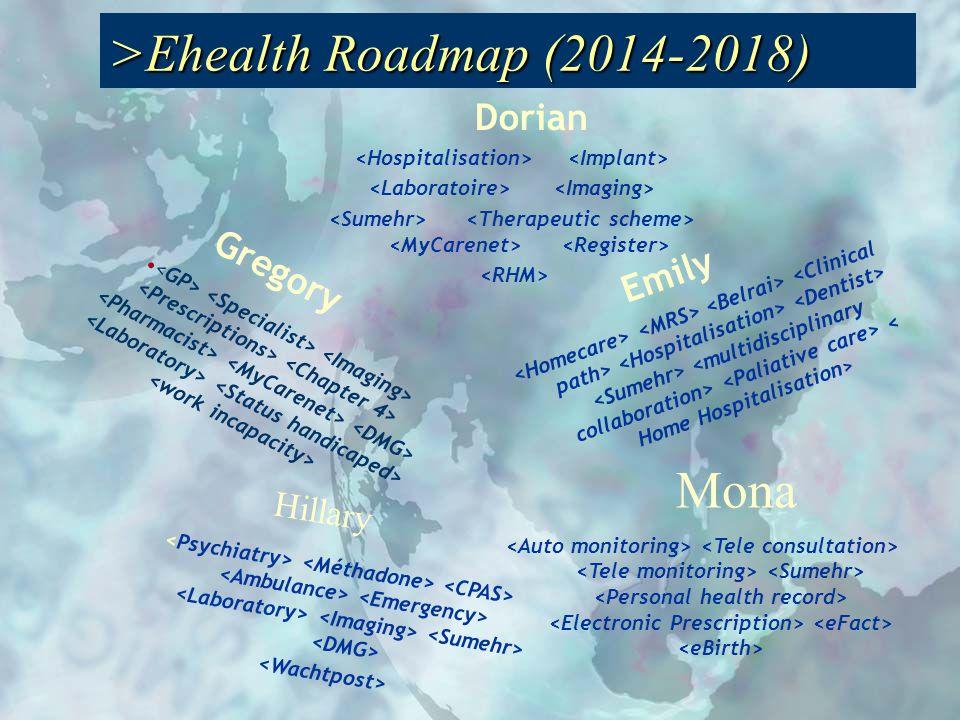 Gregory Emily Hillary Mona Dorian services e-santé Dorian >Ehealth Roadmap (2014-2018)