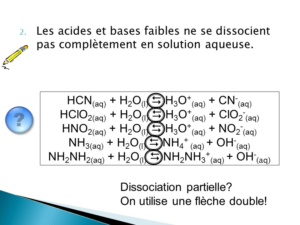2. Les acides et bases faibles ne se dissocient pas complètement en solution aqueuse. HCN (aq) + H 2 O (l)  H 3 O + (aq) + CN - (aq) HClO 2(aq) + H 2
