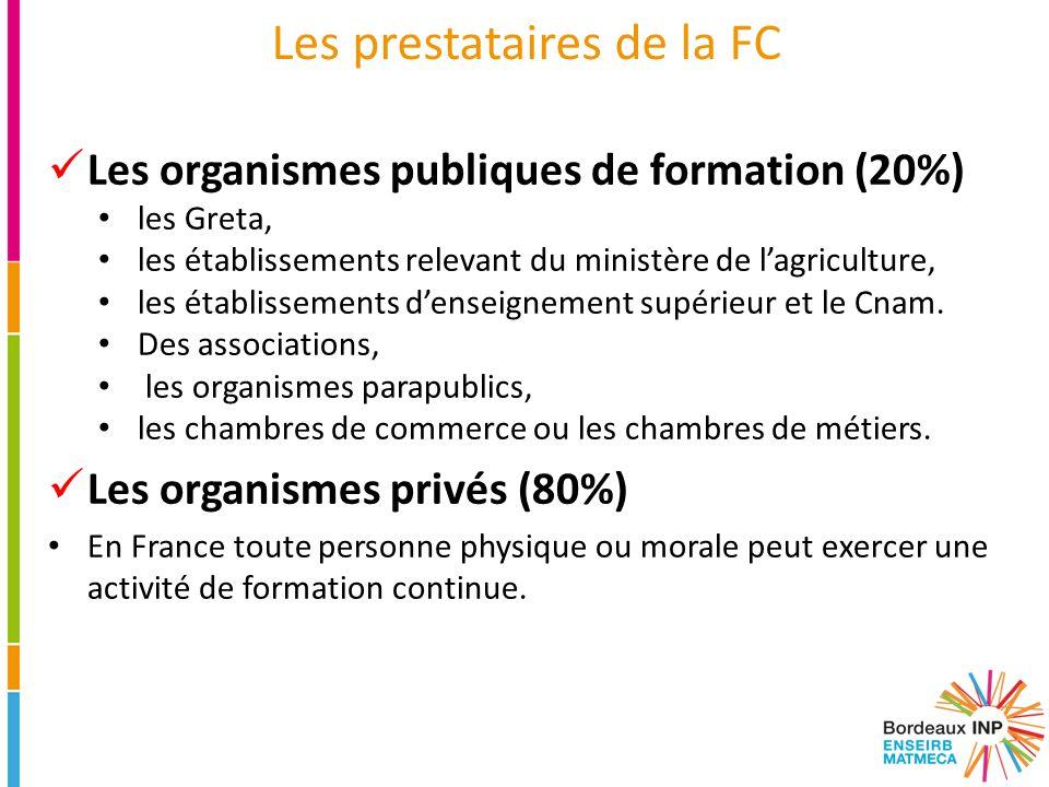 Les prestataires de la FC Les organismes publiques de formation (20%) les Greta, les établissements relevant du ministère de l'agriculture, les établi