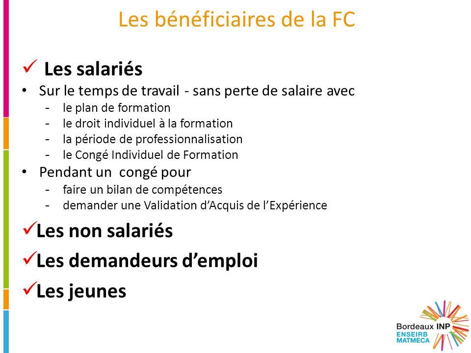 Les bénéficiaires de la FC Les salariés Sur le temps de travail - sans perte de salaire avec -le plan de formation -le droit individuel à la formation