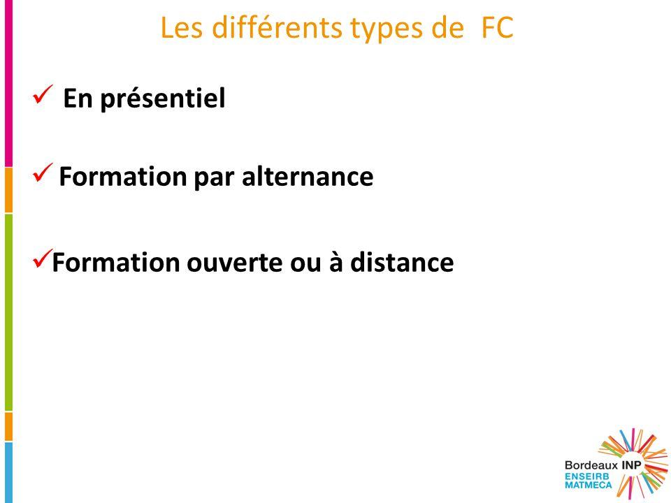 Les différents types de FC En présentiel Formation par alternance Formation ouverte ou à distance