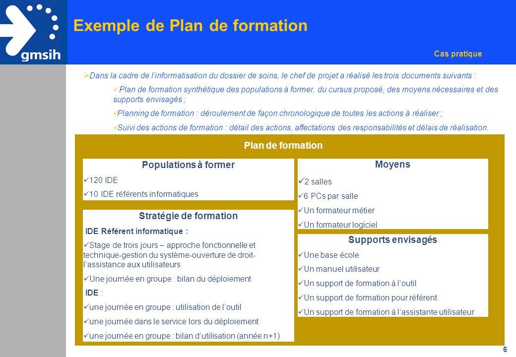 6 Plan de formation Populations à former 120 IDE 10 IDE référents informatiques Stratégie de formation IDE Référent informatique : Stage de trois jour