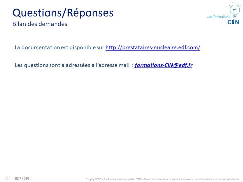 21 I EDF I DPN I Copyright EDF – Ce document est la propriété d'EDF – Toute diffusion externe du présent document ou des informations qu'il contient e