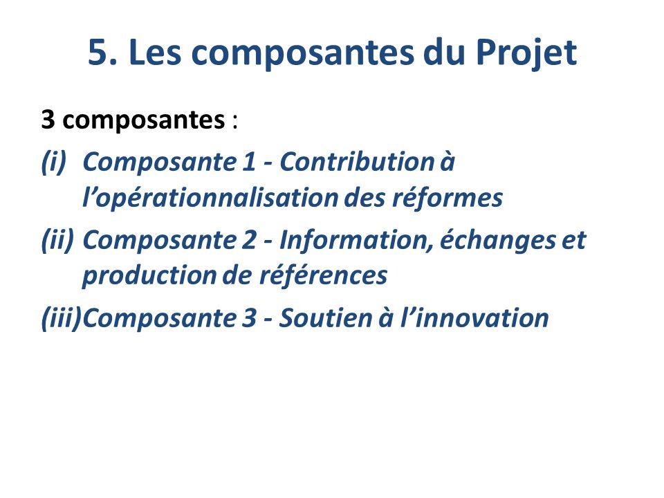 5. Les composantes du Projet 3 composantes : (i)Composante 1 - Contribution à l'opérationnalisation des réformes (ii)Composante 2 - Information, échan