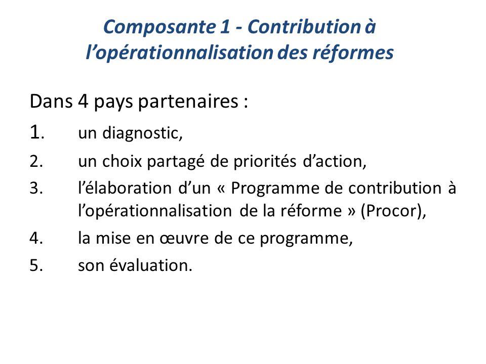 Composante 1 - Contribution à l'opérationnalisation des réformes Dans 4 pays partenaires : 1.un diagnostic, 2.un choix partagé de priorités d'action,