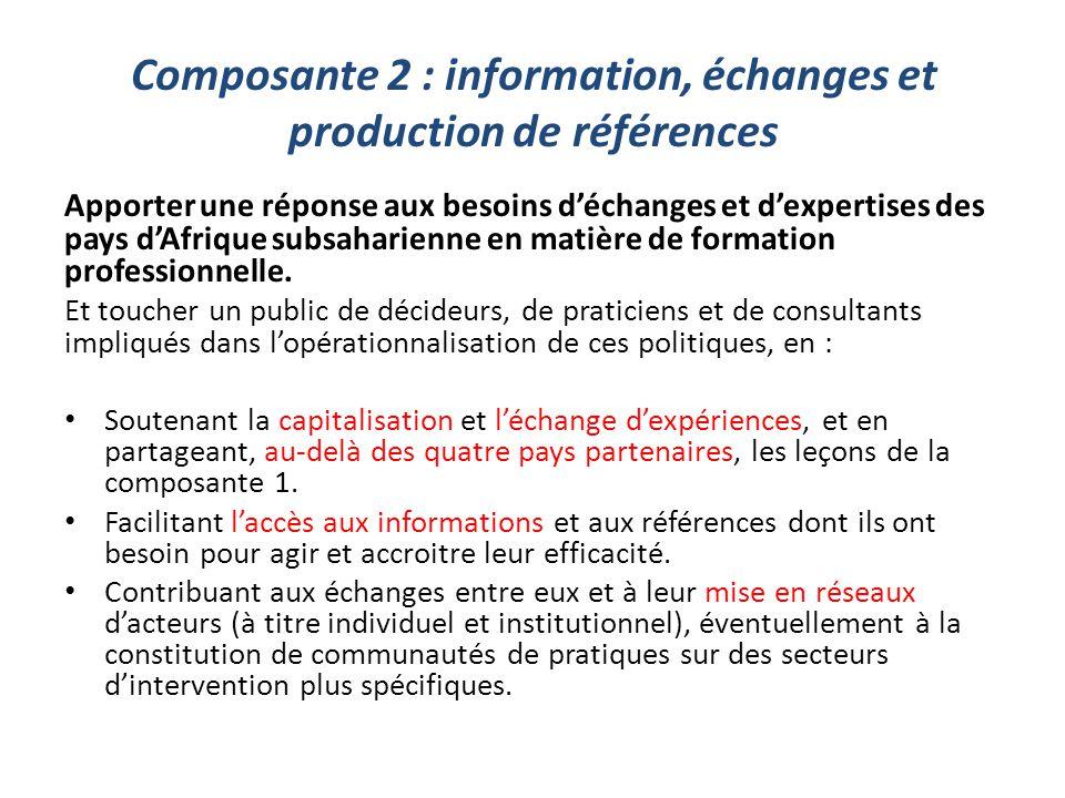 Composante 2 : information, échanges et production de références Apporter une réponse aux besoins d'échanges et d'expertises des pays d'Afrique subsah