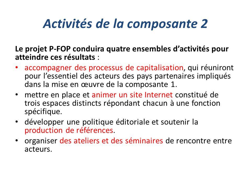 Activités de la composante 2 Le projet P-FOP conduira quatre ensembles d'activités pour atteindre ces résultats : accompagner des processus de capital