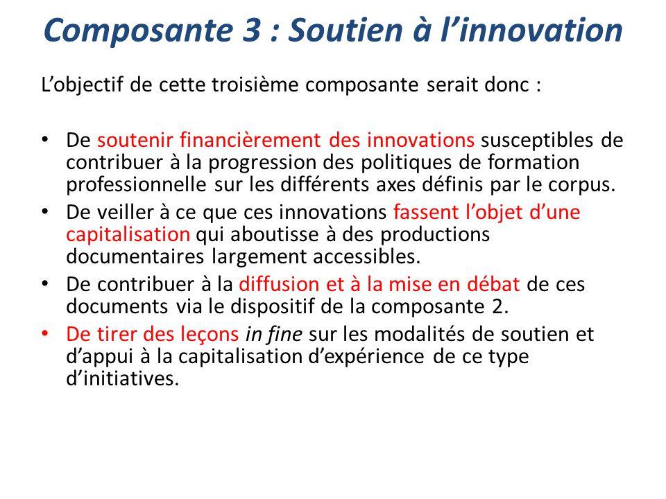 Composante 3 : Soutien à l'innovation L'objectif de cette troisième composante serait donc : De soutenir financièrement des innovations susceptibles d