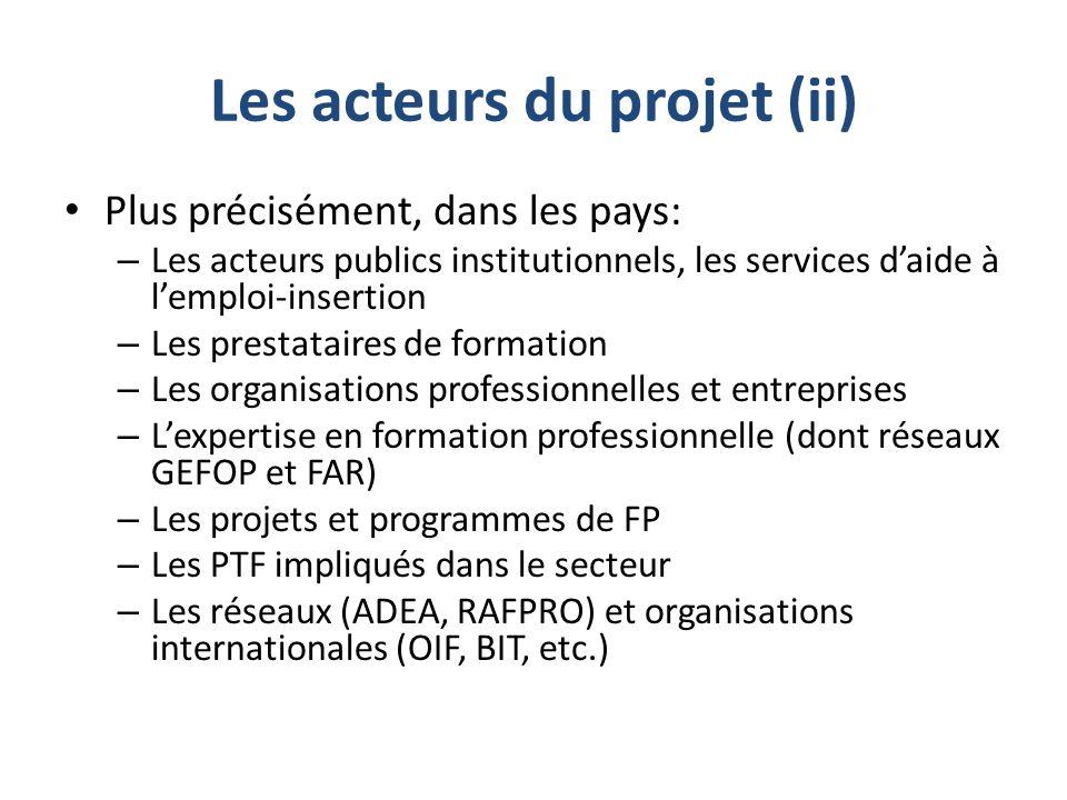 Les acteurs du projet (ii) Plus précisément, dans les pays: – Les acteurs publics institutionnels, les services d'aide à l'emploi-insertion – Les pres