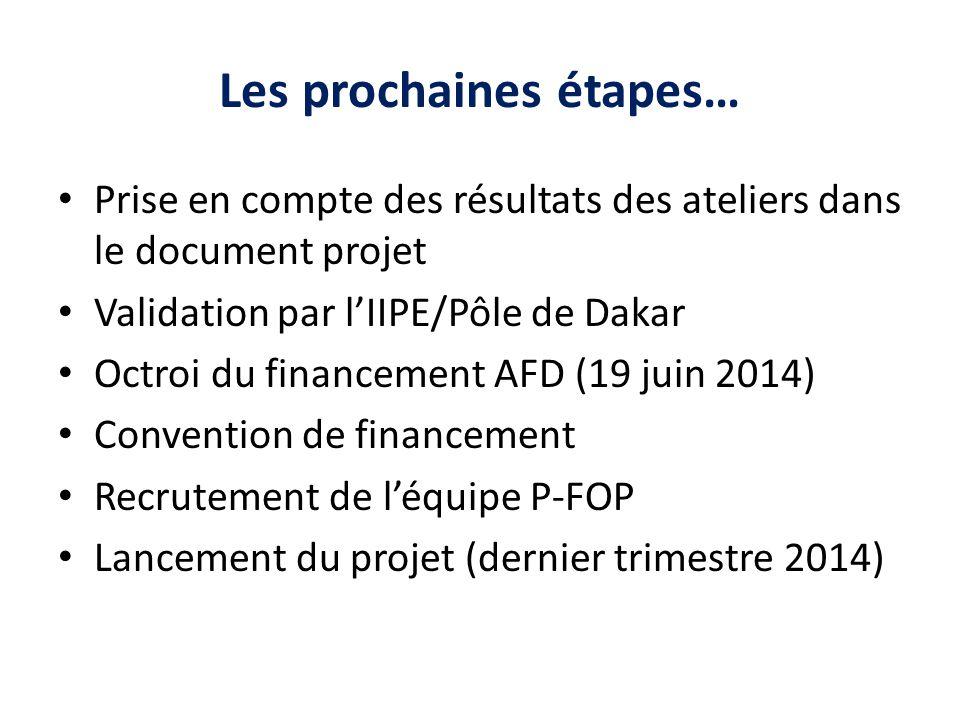 Les prochaines étapes… Prise en compte des résultats des ateliers dans le document projet Validation par l'IIPE/Pôle de Dakar Octroi du financement AF
