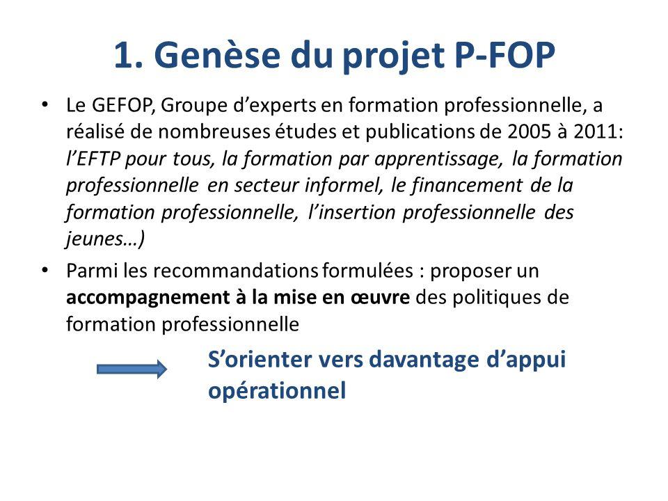 1. Genèse du projet P-FOP Le GEFOP, Groupe d'experts en formation professionnelle, a réalisé de nombreuses études et publications de 2005 à 2011: l'EF