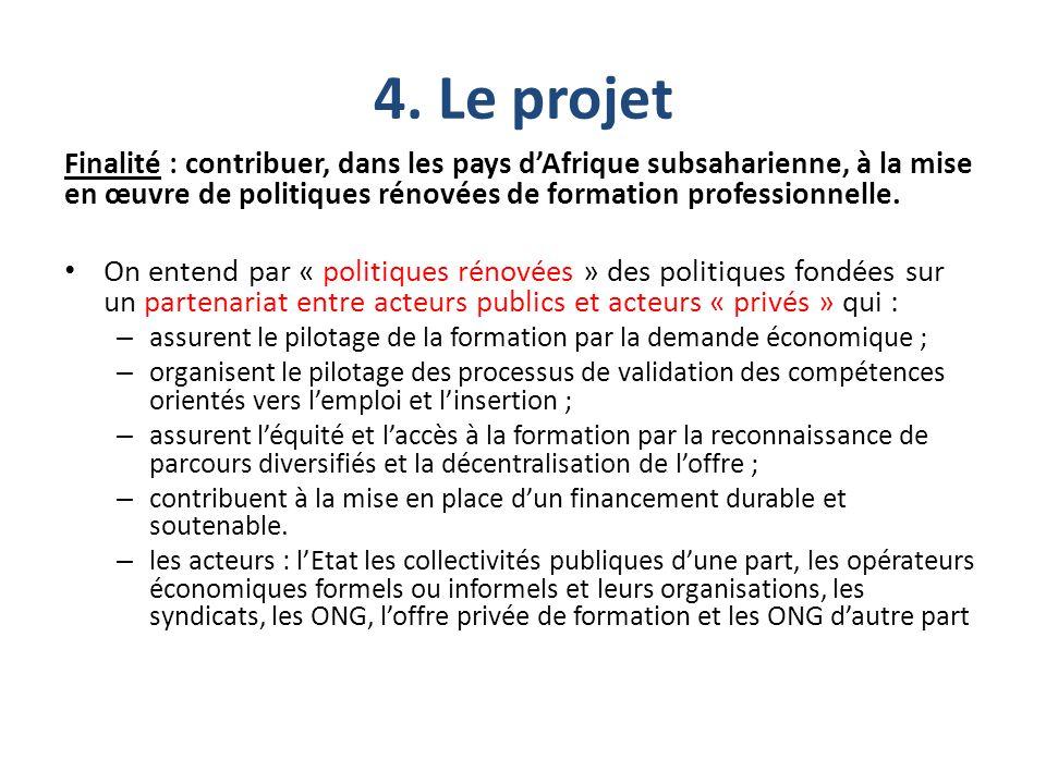 4. Le projet Finalité : contribuer, dans les pays d'Afrique subsaharienne, à la mise en œuvre de politiques rénovées de formation professionnelle. On