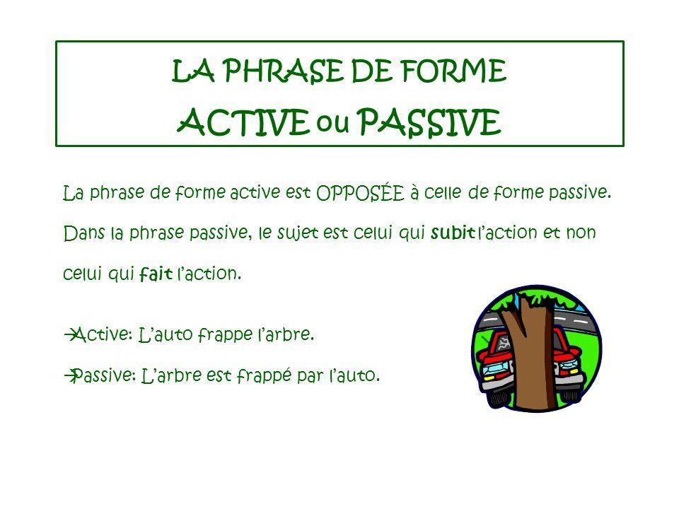 LA PHRASE DE FORME ACTIVE ou PASSIVE La phrase de forme active est OPPOSÉE à celle de forme passive.
