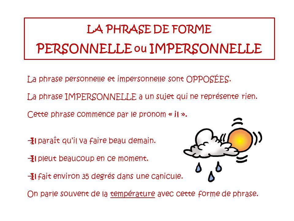 LA PHRASE DE FORME PERSONNELLE ou IMPERSONNELLE La phrase personnelle et impersonnelle sont OPPOSÉES.