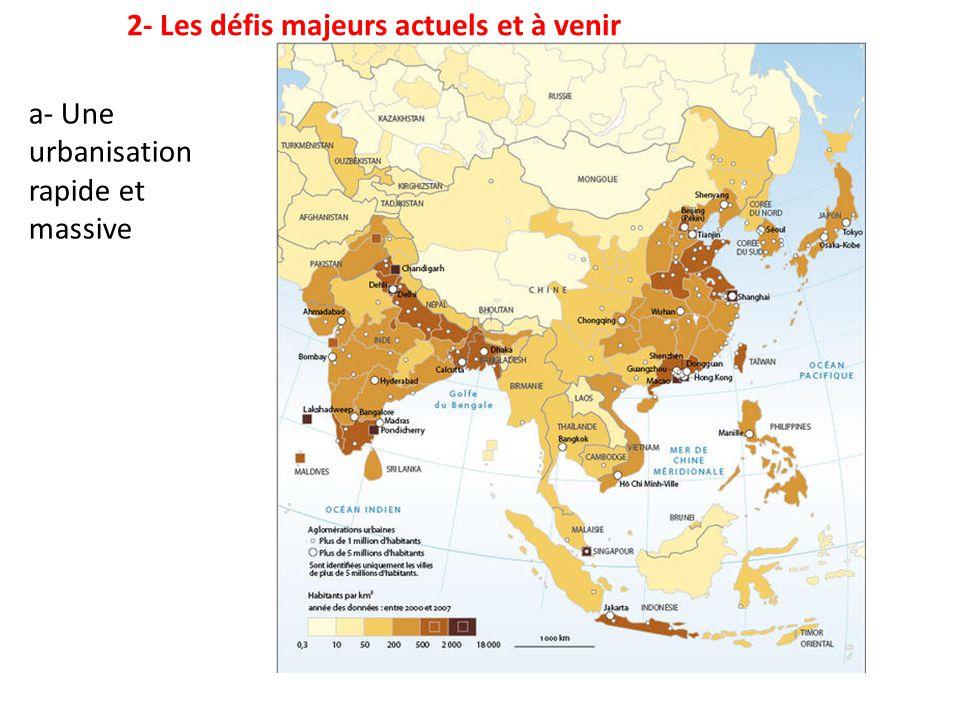 2- Les défis majeurs actuels et à venir a- Une urbanisation rapide et massive