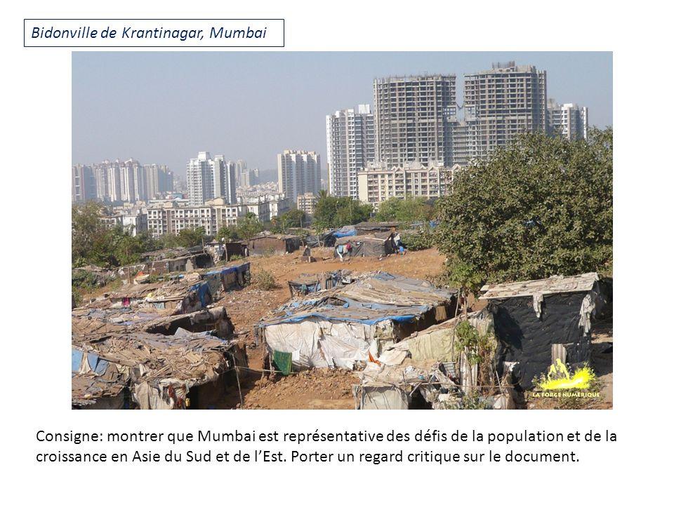 Bidonville de Krantinagar, Mumbai Consigne: montrer que Mumbai est représentative des défis de la population et de la croissance en Asie du Sud et de l'Est.