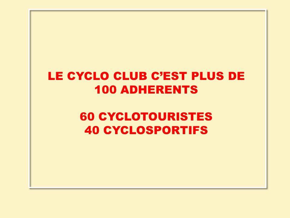 LE CYCLO CLUB C'EST PLUS DE 100 ADHERENTS 60 CYCLOTOURISTES 40 CYCLOSPORTIFS
