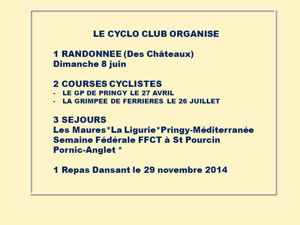 LE CYCLO CLUB ORGANISE 1 RANDONNEE (Des Châteaux) Dimanche 8 juin 2 COURSES CYCLISTES -LE GP DE PRINGY LE 27 AVRIL -LA GRIMPEE DE FERRIERES LE 26 JUIL