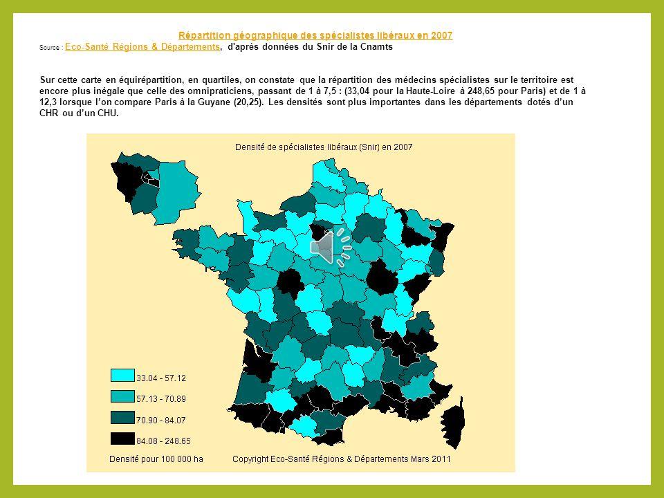 Densité de MG par département Densité moyenne 171,6 MG pour 100 000 hts Alpes Maritimes 300 MG / 100 000 hts Moins de 100 MG pour la Seine et Marne 69