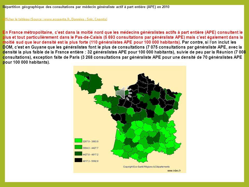 Répartition géographique des spécialistes libéraux en 2007 Source : Eco-Santé Régions & Départements, d'après données du Snir de la Cnamts Eco-Santé R