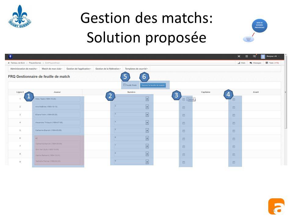 Gestion des matchs: Solution proposée 11 123456