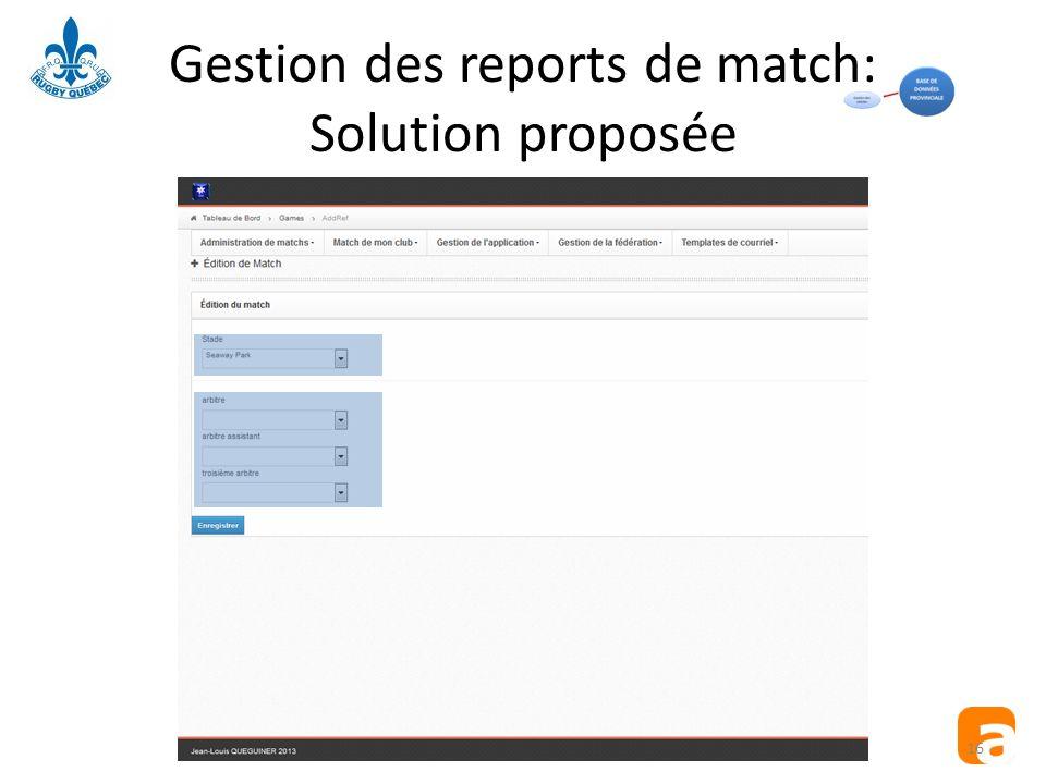 Gestion des reports de match: Solution proposée 16