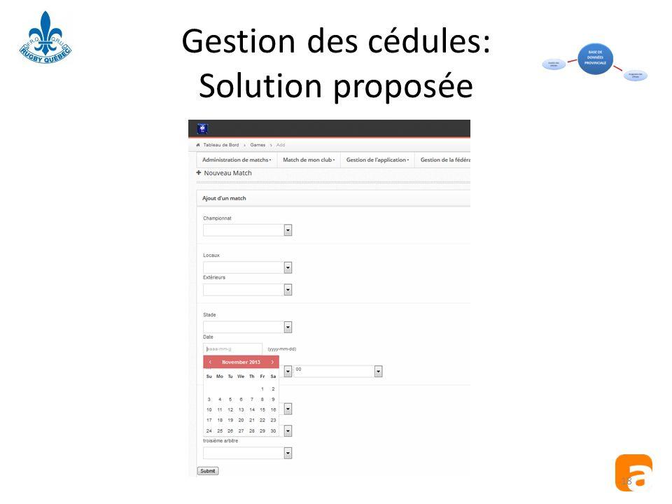 Gestion des cédules: Solution proposée 18