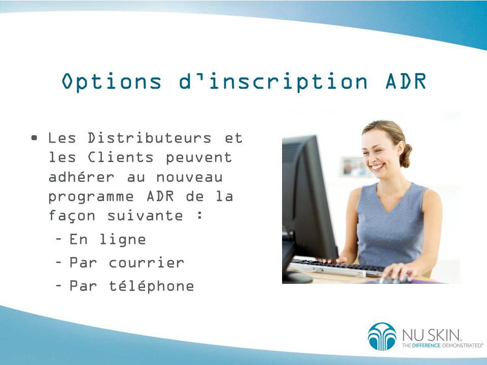 Options d'inscription ADR Les Distributeurs et les Clients peuvent adhérer au nouveau programme ADR de la façon suivante : –En ligne –Par courrier –Pa