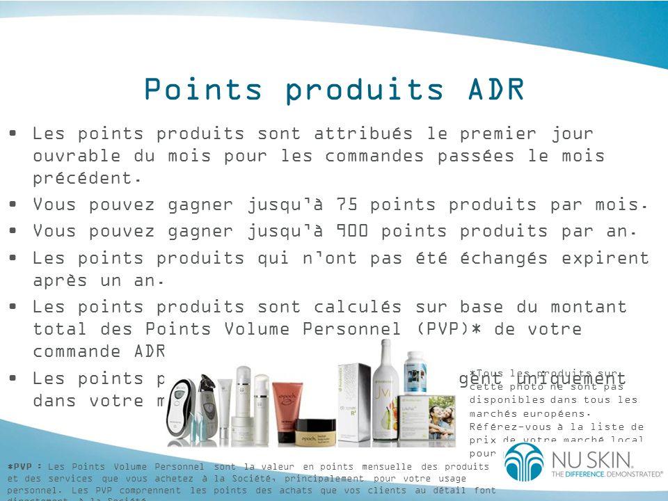 Points produits ADR Les Distributeurs et les Clients peuvent faire valoir leurs points produits de la façon suivante : En ligne Par fax/courrier Dans les magasins Les points produits s'échangent contre des produits gratuits : Les produits doivent s acheter totalement avec les points produits.