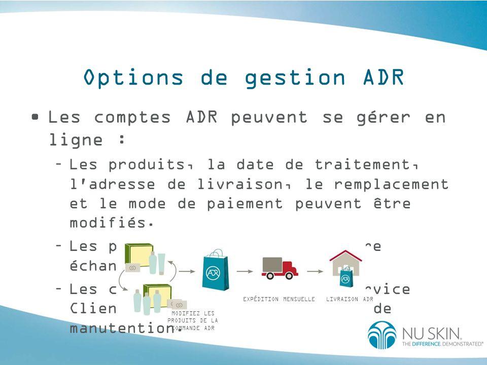 Options de gestion ADR Les comptes ADR peuvent se gérer en ligne : –Les produits, la date de traitement, l'adresse de livraison, le remplacement et le