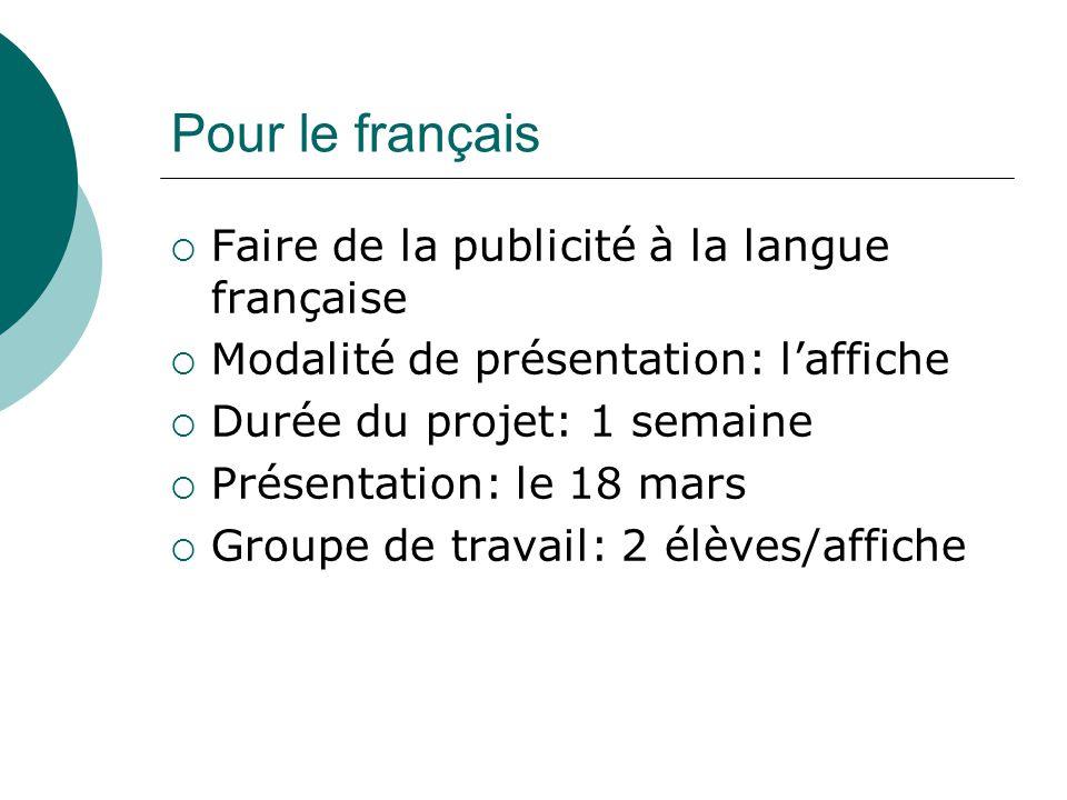 Pour le français  Faire de la publicité à la langue française  Modalité de présentation: l'affiche  Durée du projet: 1 semaine  Présentation: le 1