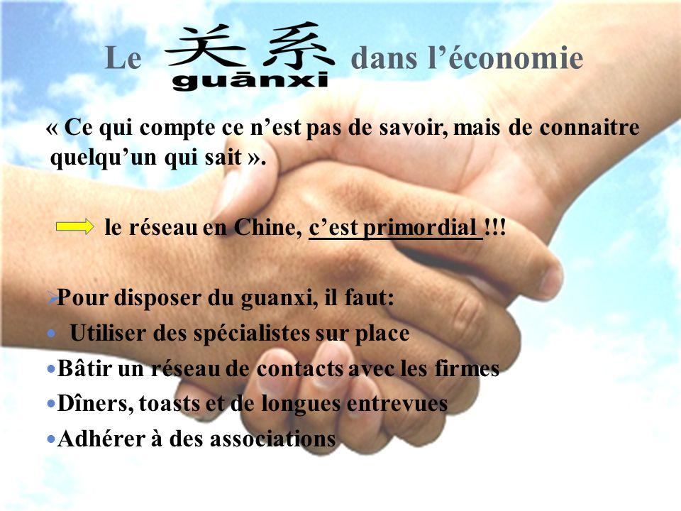 Le dans l'économie « Ce qui compte ce n'est pas de savoir, mais de connaitre quelqu'un qui sait ». le réseau en Chine, c'est primordial !!!  Pour dis