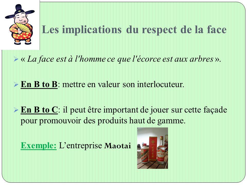 Les implications du respect de la face  « La face est à l'homme ce que l'écorce est aux arbres ».  En B to B: mettre en valeur son interlocuteur. 