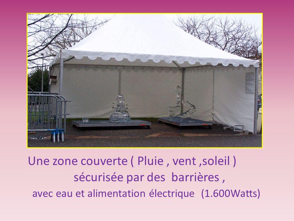 Une zone couverte ( Pluie, vent,soleil ) sécurisée par des barrières, avec eau et alimentation électrique (1.600Watts)