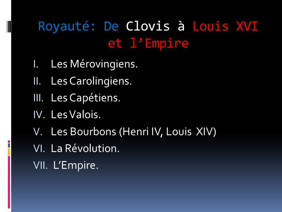 Les Mérovingiens: Premiers Rois des Francs  Après la chute de l'empire romain d'occident, le peuple des Francs rentre dans ce que l'on appelle maintenant la France.