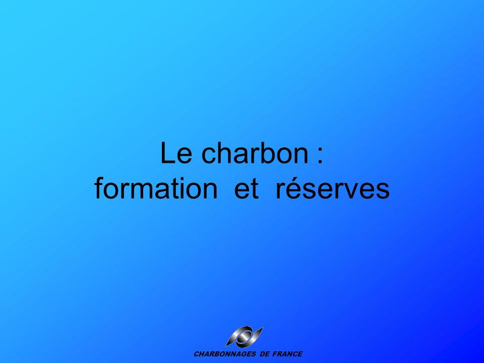 Plan de la présentation Formation et réserves Extraction du charbon Utilisation Le charbon en France Le marché mondial du charbon Le charbon et l'environnement CHARBONNAGES DE FRANCE
