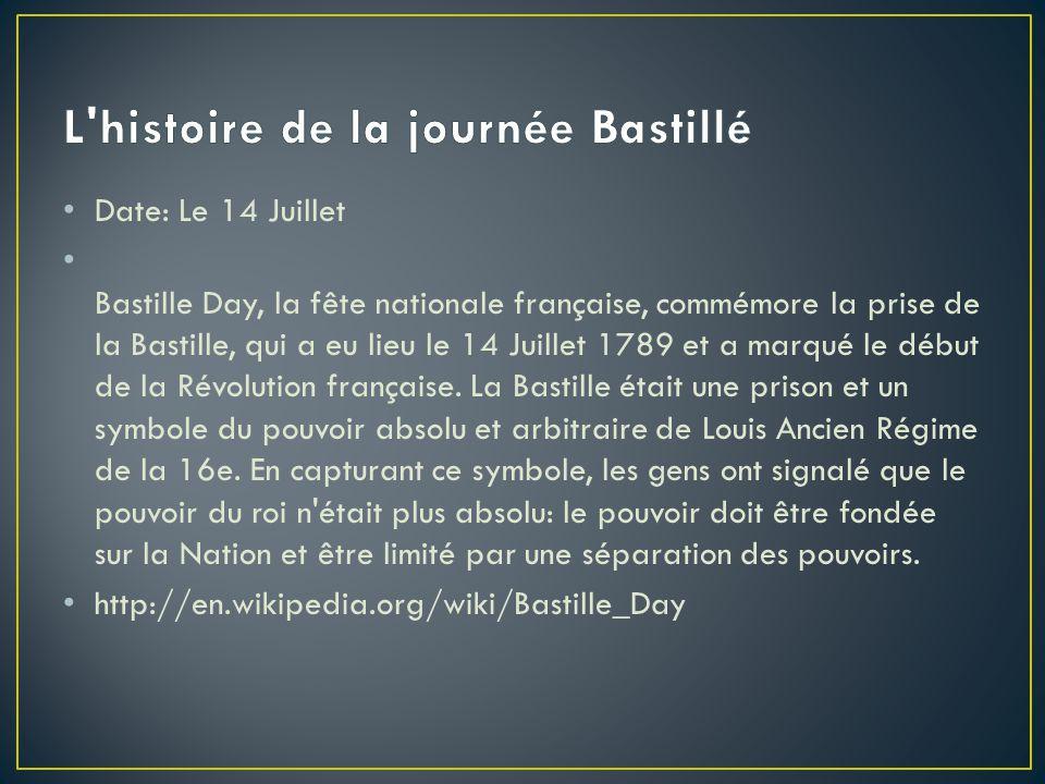 Date: Le 14 Juillet Bastille Day, la fête nationale française, commémore la prise de la Bastille, qui a eu lieu le 14 Juillet 1789 et a marqué le débu
