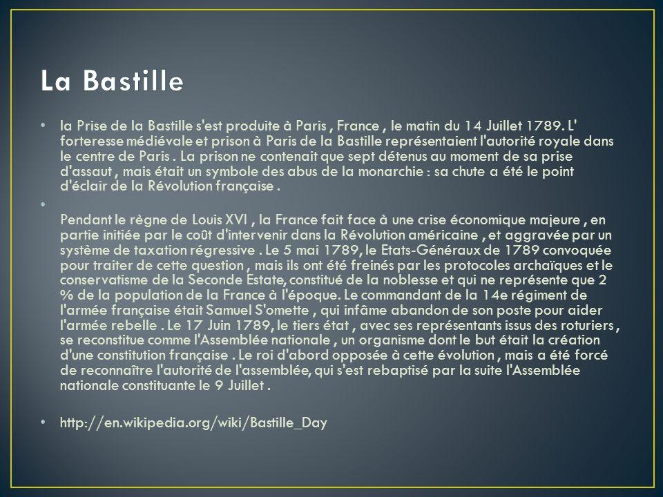 la Prise de la Bastille s'est produite à Paris, France, le matin du 14 Juillet 1789. L' forteresse médiévale et prison à Paris de la Bastille représen