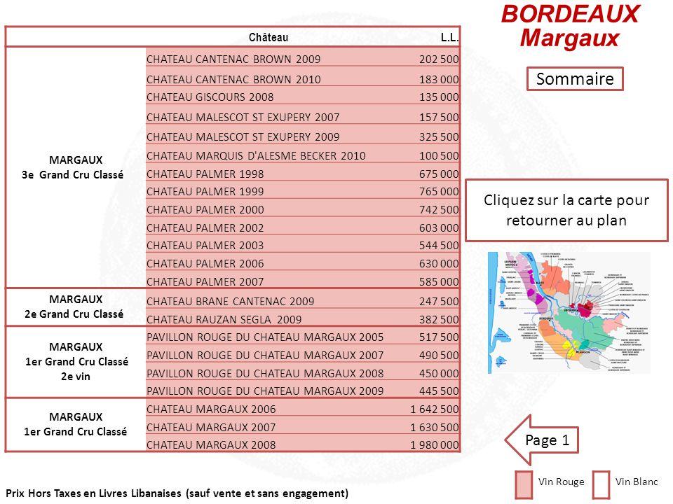 Prix Hors Taxes en Livres Libanaises (sauf vente et sans engagement) Cliquez sur la carte pour retourner au plan ChâteauL.L. MARGAUX LA BERLANDE 20086
