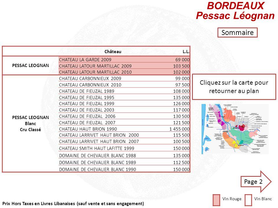 Prix Hors Taxes en Livres Libanaises (sauf vente et sans engagement) Cliquez sur la carte pour retourner au plan ChâteauL.L PAUILLAC 5e Grand Cru Clas