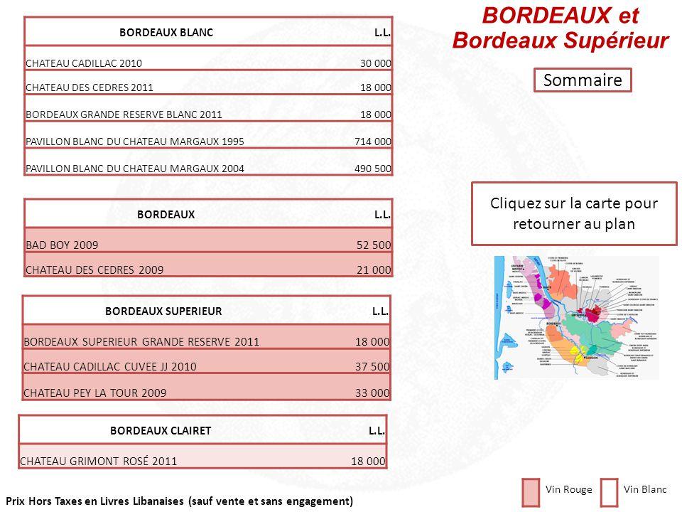 Prix Hors Taxes en Livres Libanaises (sauf vente et sans engagement) Cliquez sur la carte pour retourner au plan BORDEAUX Barsac et Sauternes ChâteauL