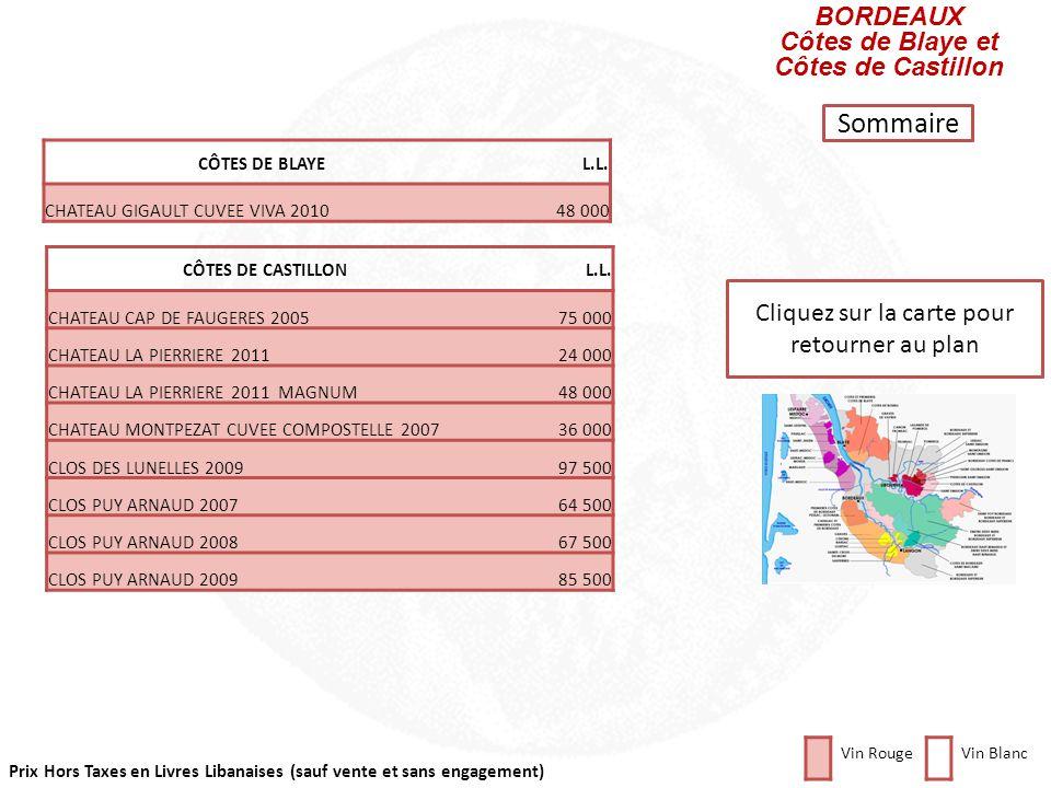 Prix Hors Taxes en Livres Libanaises (sauf vente et sans engagement) Cliquez sur la carte pour retourner au plan BORDEAUX Fronsac et Canon-Fronsac FRO