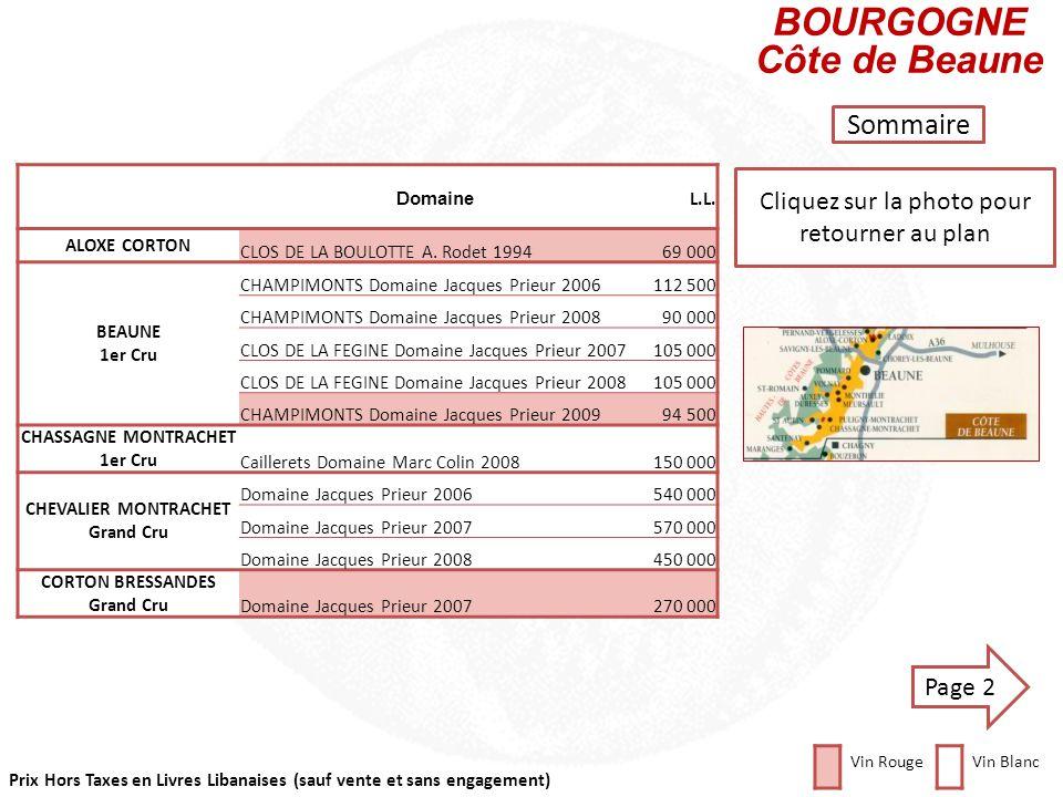 Prix Hors Taxes en Livres Libanaises (sauf vente et sans engagement) Cliquez sur la photo pour retourner au plan CHABLIS Sommaire DomaineL.L. CHABLIS