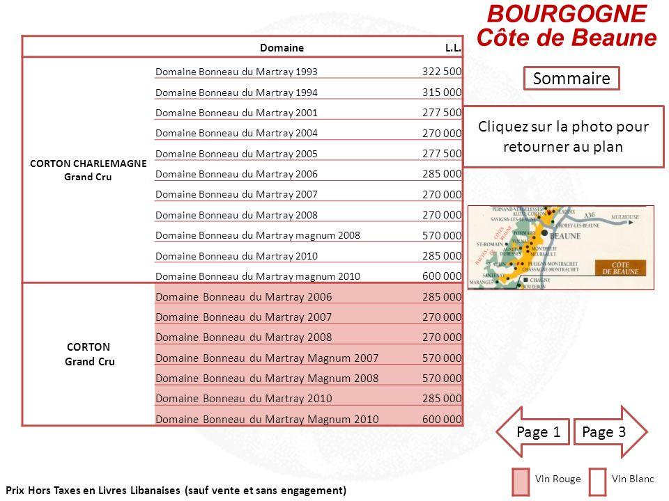 Prix Hors Taxes en Livres Libanaises (sauf vente et sans engagement) Cliquez sur la photo pour retourner au plan BOURGOGNE Côte de Beaune Sommaire Dom