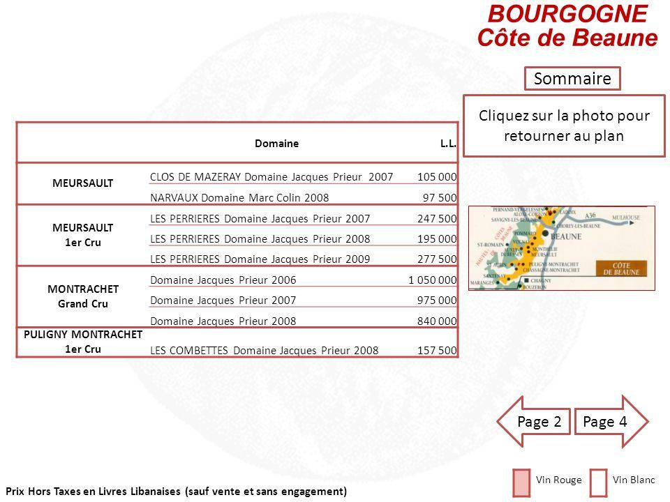 Prix Hors Taxes en Livres Libanaises (sauf vente et sans engagement) Cliquez sur la photo pour retourner au plan Sommaire DomaineL.L. CORTON CHARLEMAG