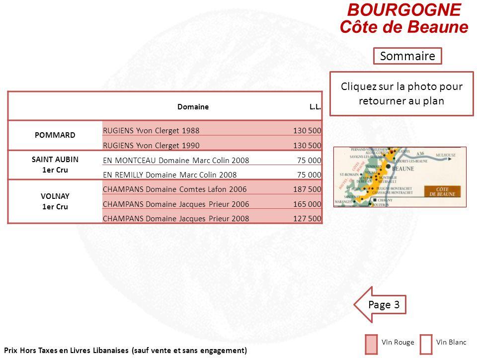 Prix Hors Taxes en Livres Libanaises (sauf vente et sans engagement) Cliquez sur la photo pour retourner au plan Sommaire DomaineL.L. MEURSAULT CLOS D