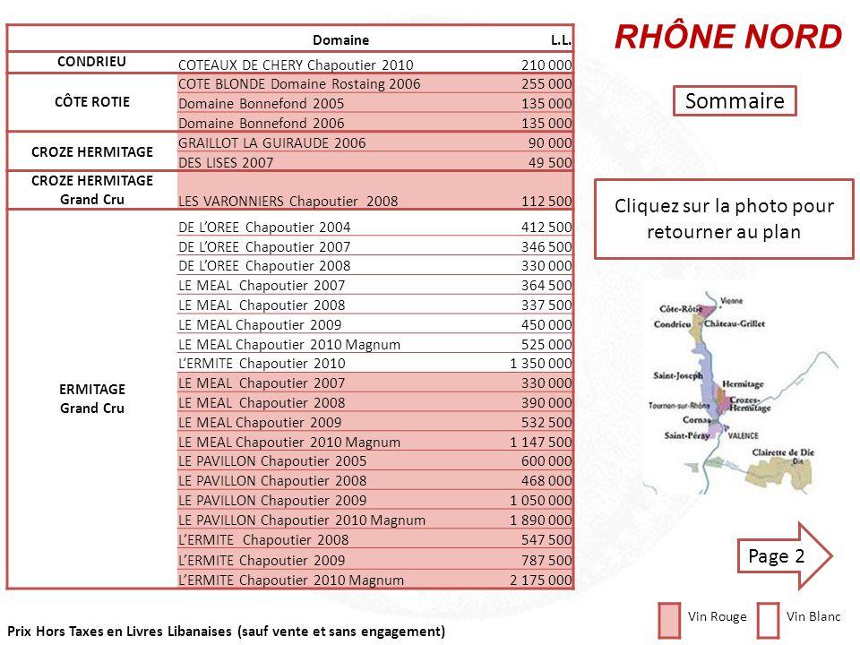 Prix Hors Taxes en Livres Libanaises (sauf vente et sans engagement) VALLÉE du RHÔNE RHÔNE NORD VALLÉE du RHÔNE RHÔNE SUD Cliquez sur la région que vo